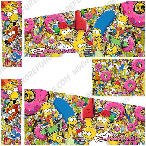 The Simpsons Pinball Party Donut Alternate Pinball Cabinet Decals Flipper Side Art Stern