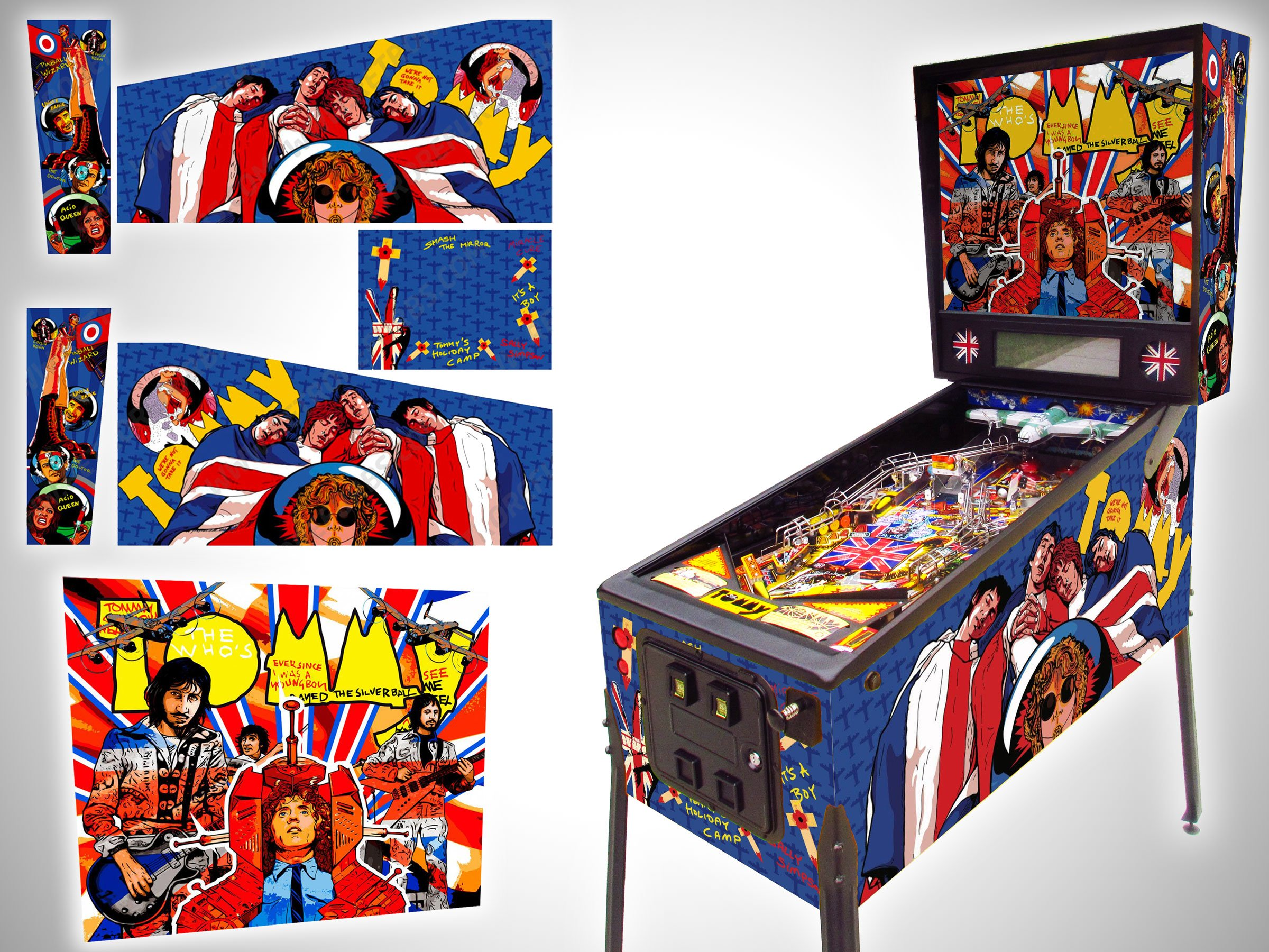 Tommy The Who pinball translite and cabinet decals hand drawn
