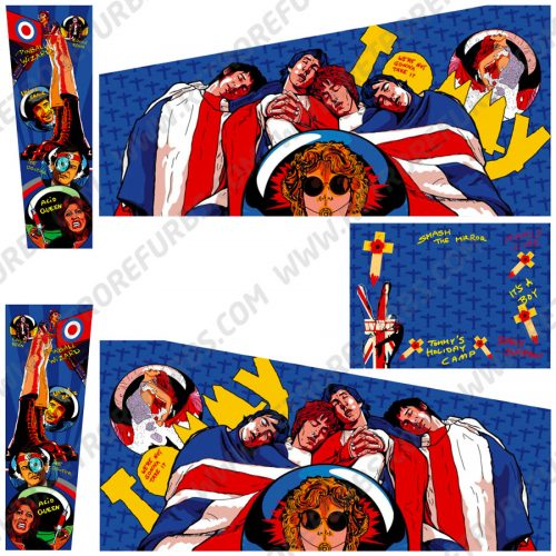 The Who's Tommy Hand Drawn Line Art Alternate Pinball Cabinet Decals Flipper Side Art Data East