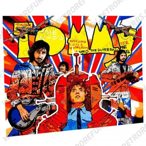 The Who's Tommy Hand Drawn Line Art Dreams Alternate Pinball Translite Alternative Flipper Backglass