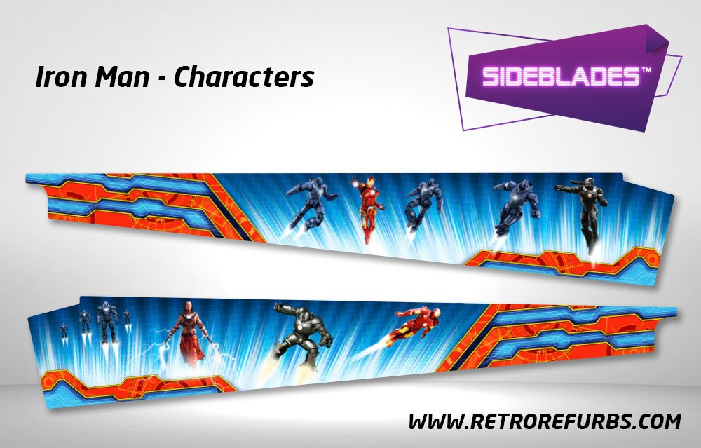 Iron Man Characters Pinball Sideblades Inside Inner Art Decals Sideboard Art Pin Blades