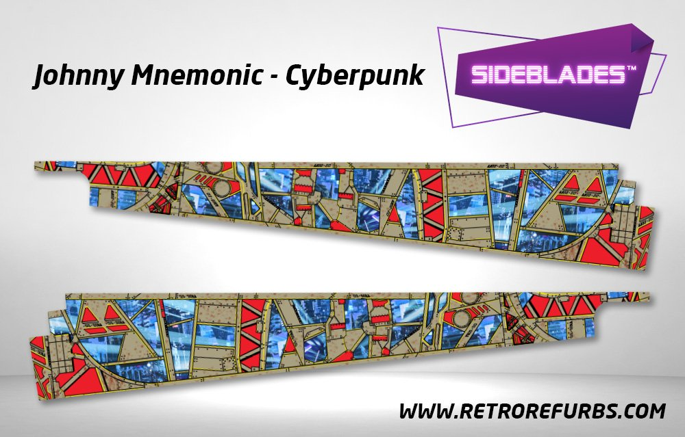 Johnny Mnemonic Cyberpunk Pinball Sideblades Inside Inner Art Decals Sideboard Art Pin Blades