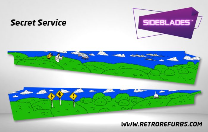 Secret Service Pinball Sideblades Inside Inner Art Decals Sideboard Art Pin Blades