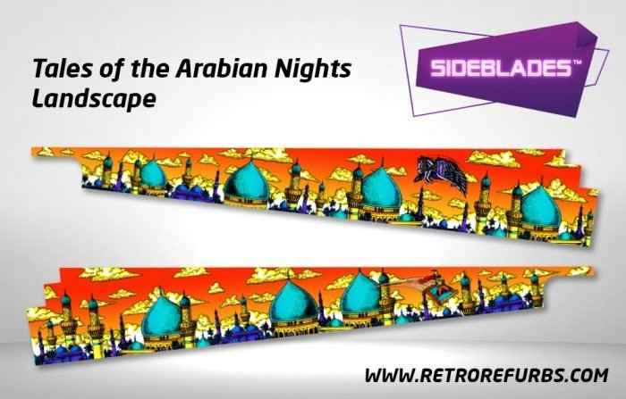 Tales of the Arabian Nights Landscape Pinball Sideblades Inside Inner Art Decals Sideboard Art Pin Blades