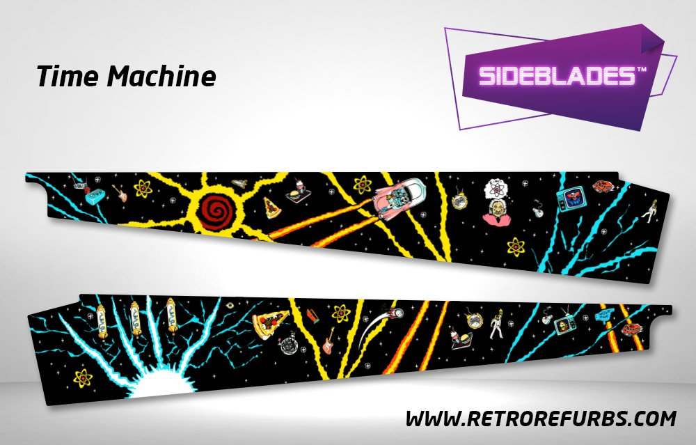 Time Machine Pinball Sideblades Inside Inner Art Decals Sideboard Art Pin Blades