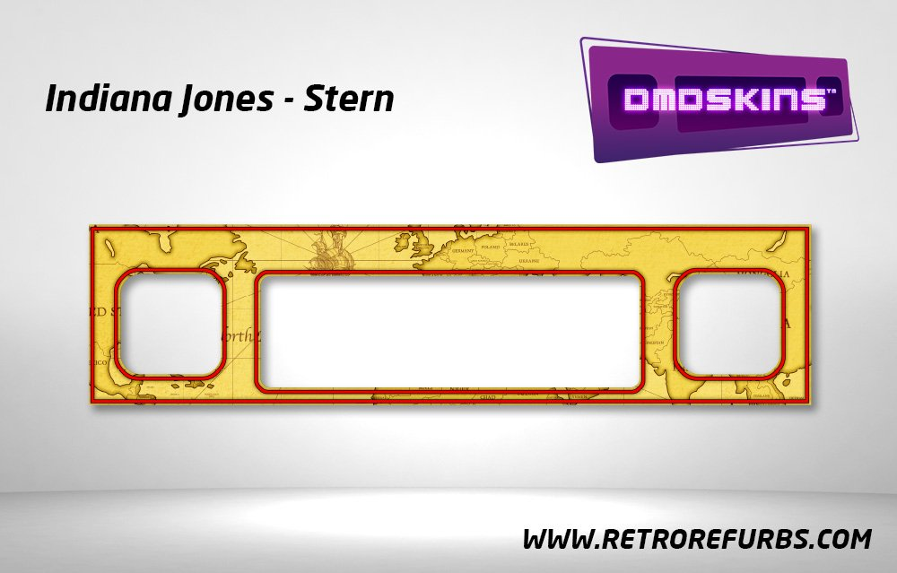 Indiana Jones Stern Pinball DMDSkin Speaker Panel Overlay DMD Artwork Decal