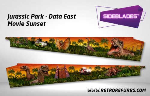Jurassic Park (Stern & DE) - Movie Sunset Pinball Sideblades Inside Inner Art Decals Sideboard Art Pin Blades