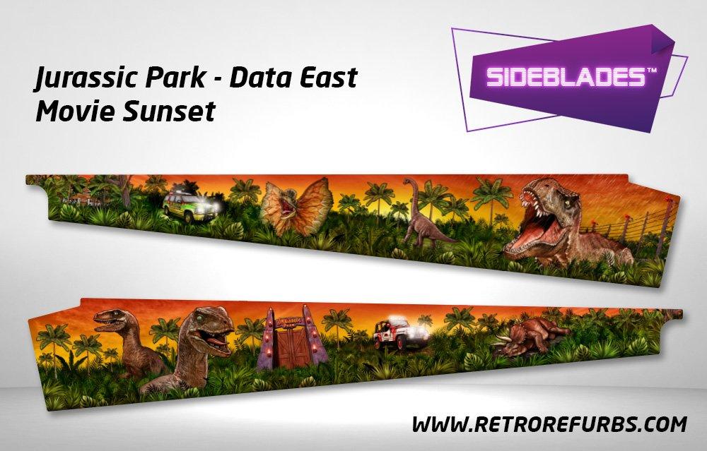 Jurassic Park (Stern & DE) - Movie Sunset Pinball Sideblades Inside Inner Art Decals Sideboard Art Pin Blades