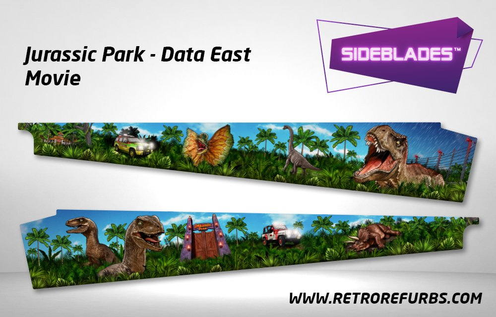 Jurassic Park (Stern & DE) - Movie Blue Pinball Sideblades Inside Inner Art Decals Sideboard Art Pin Blades
