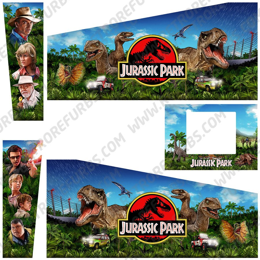 Jurassic Park Blue Sky Hand Drawn Movie Line Art Alternate Pinball Cabinet Decals Flipper Side Art Data East