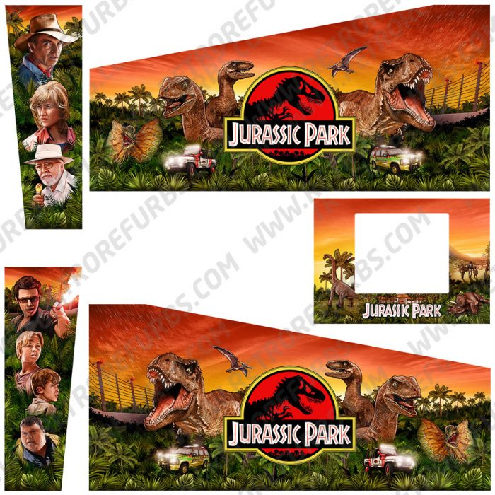 Jurassic Park Sunset Orange Sky Hand Drawn Movie Line Art Alternate Pinball Cabinet Decals Flipper Side Art Data East