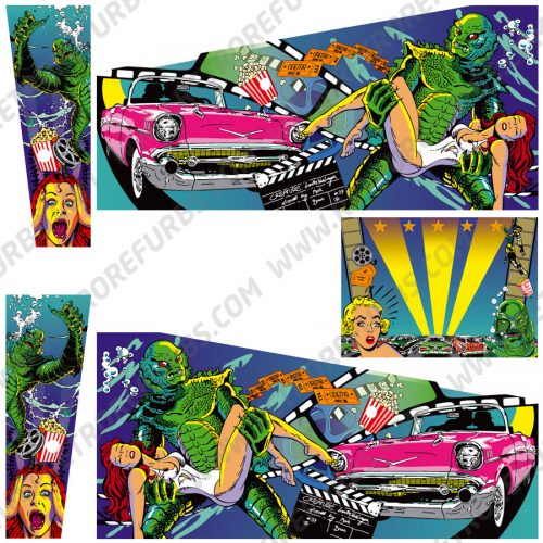 Creature From The Black Lagoon Hand Drawn Alternate Pinball Cabinet Decals Flipper Side Art
