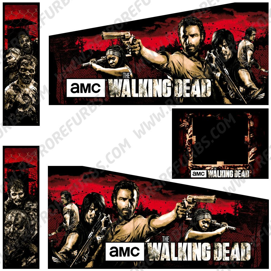 The Walking Dead Pro Original Pinball Cabinet Decals Flipper Side Art Stern
