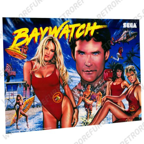 Baywatch SEGA Pinball Translite Flipper Backglass