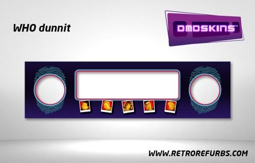 Who Dunnit Pinball DMDSkin Speaker Panel Overlay DMD Artwork Decal