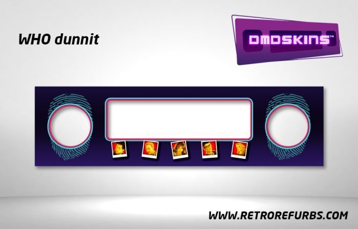 Who Dunnit Pinball DMDSkin Speaker Panel Overlay DMD Artwork Decal