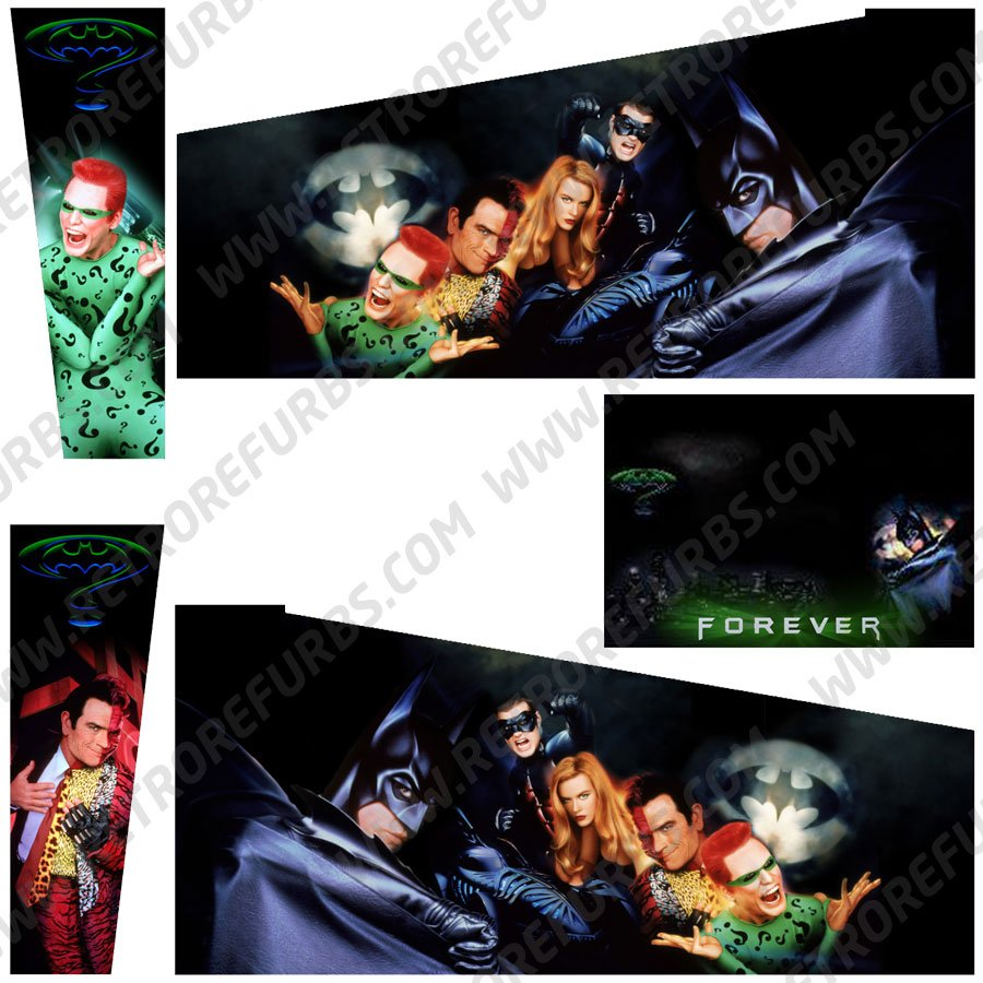 Batman Forever Movie Alternate Pinball Cabinet Decals Flipper Side Art SEGA