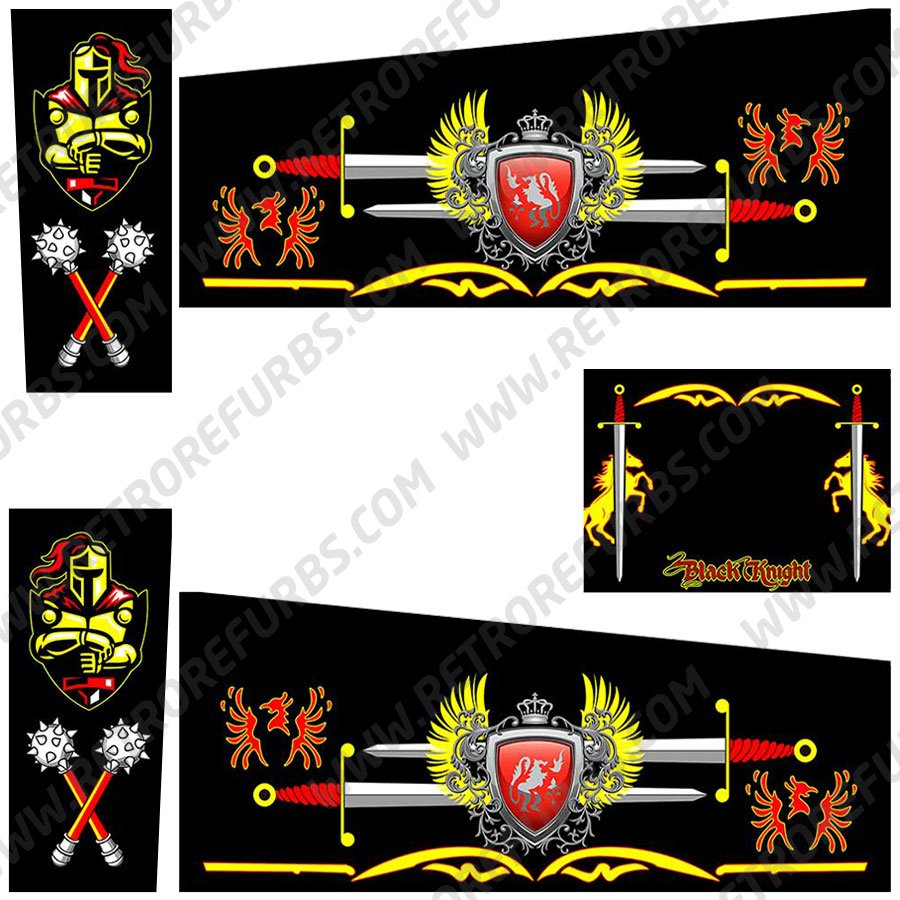 Black Knight Enhanced Alternate Pinball Cabinet Decals Flipper Side Art