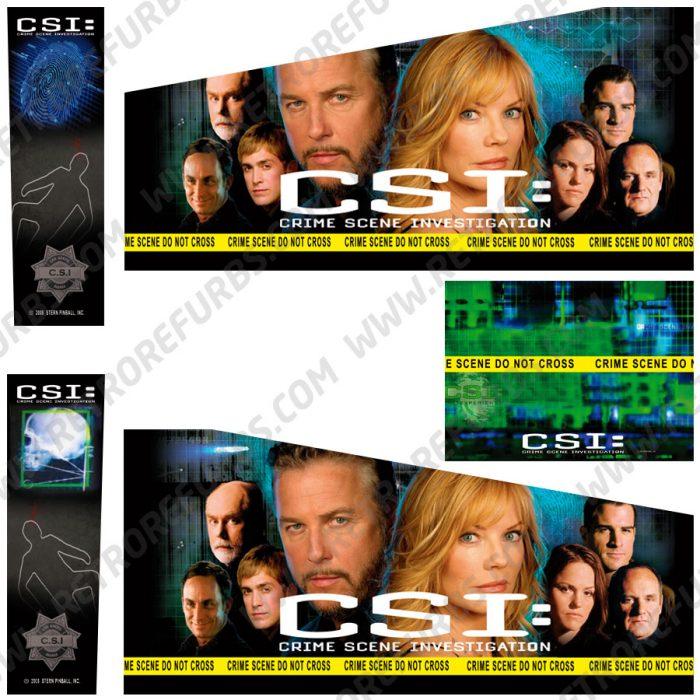 CSI Alternate Pinball Cabinet Decals Flipper Side Art Stern