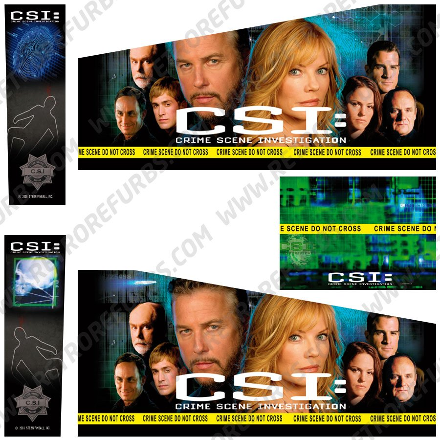 CSI Alternate Pinball Cabinet Decals Flipper Side Art Stern