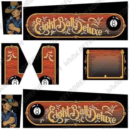 Eight Ball Deluxe Limited Edition Colored Alternate Pinball Cabinet Decals Flipper Side Art