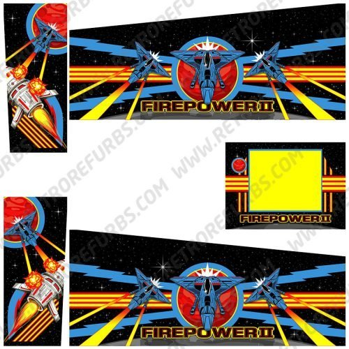 Firepower II Deluxe Alternate Pinball Cabinet Decals Flipper Side Art