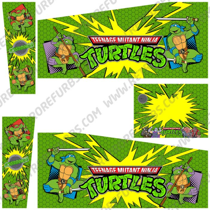 Teenage Mutant Ninja Turtles Cartoon Alternate Pinball Cabinet Decals Flipper Side Art