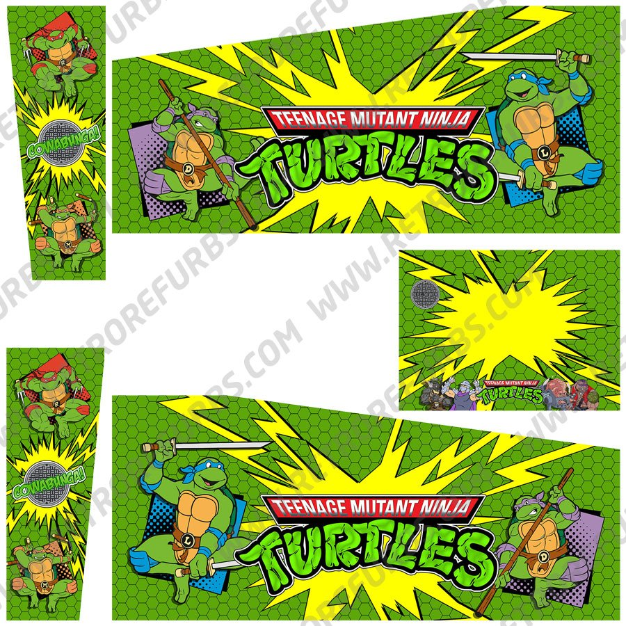 Teenage Mutant Ninja Turtles Cartoon Alternate Pinball Cabinet Decals Flipper Side Art