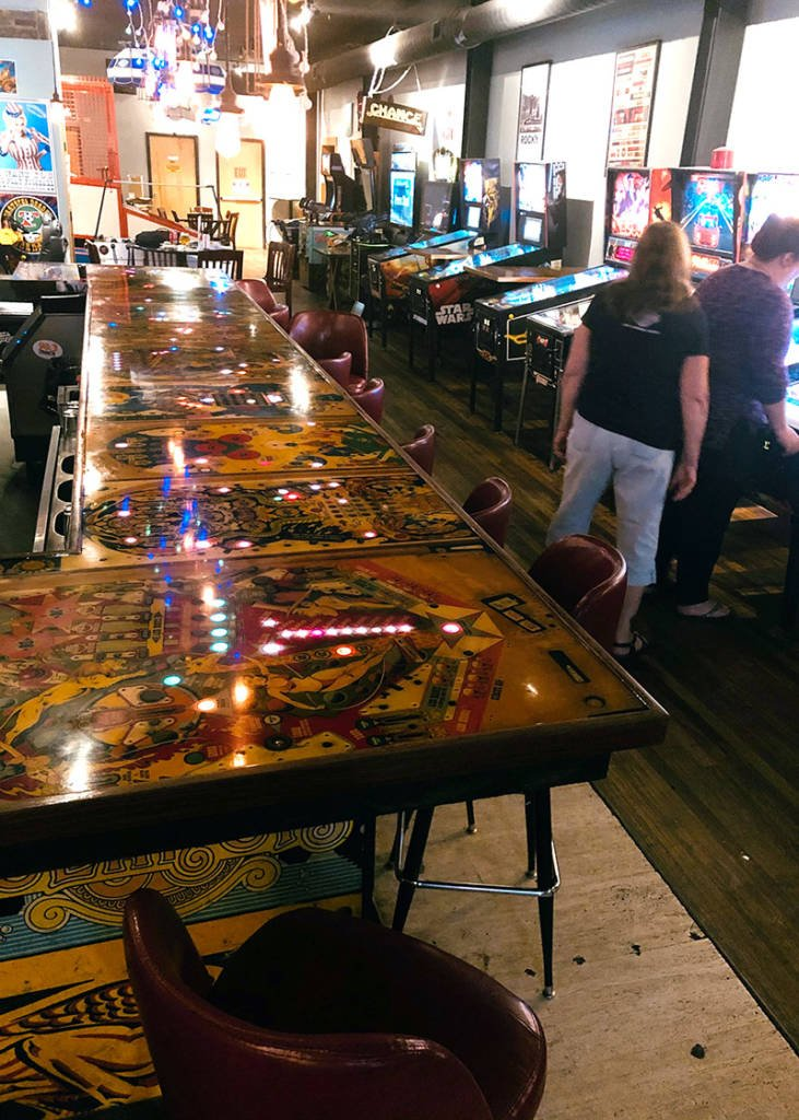 The bar top made from pinball playfields