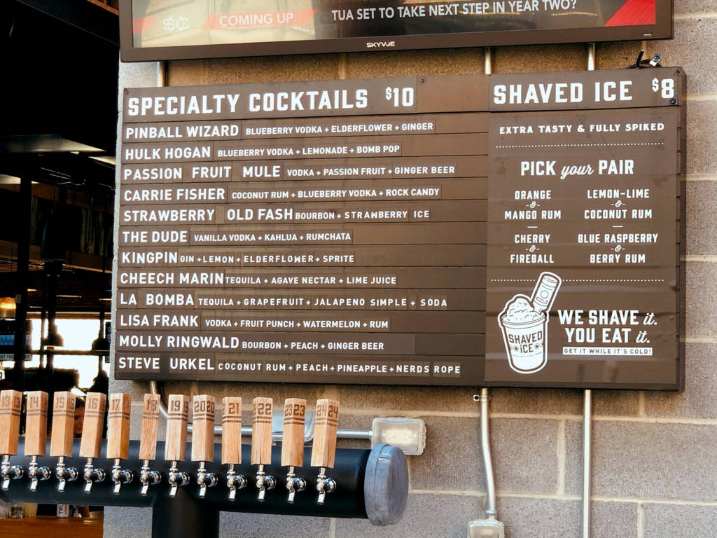 Some of the drinks available from the patio bar