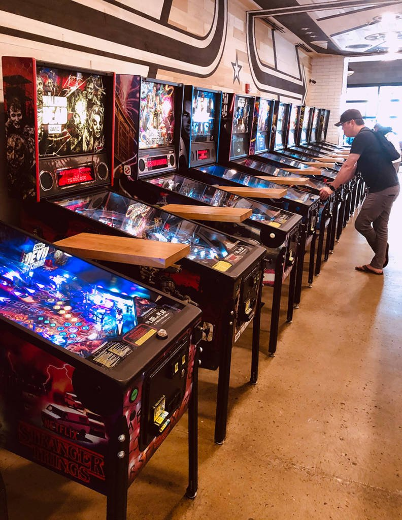 One of the rows of games in the Pinball Hall