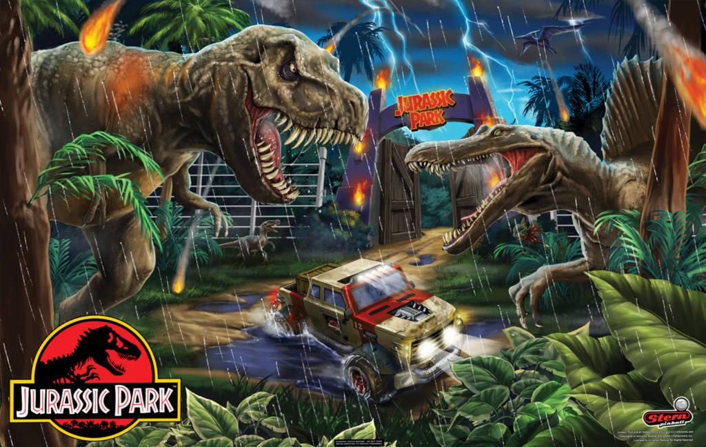 The backbox artwork from Jurassic Park Pin
