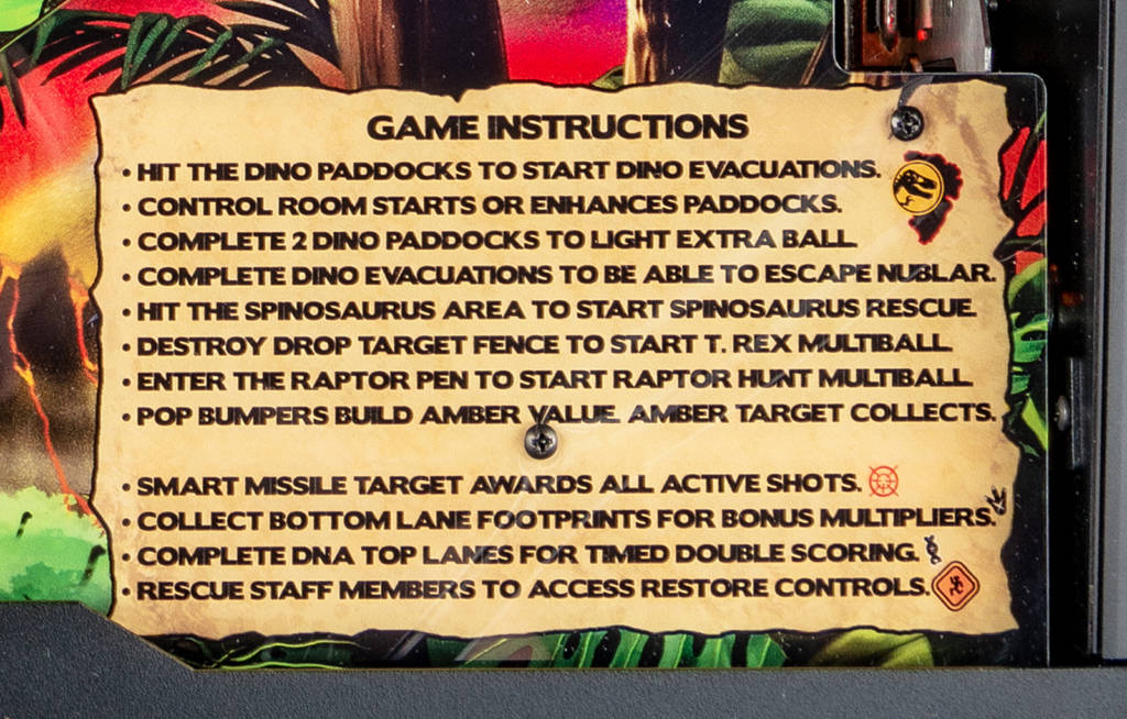 The rules card for Jurassic Park Pin